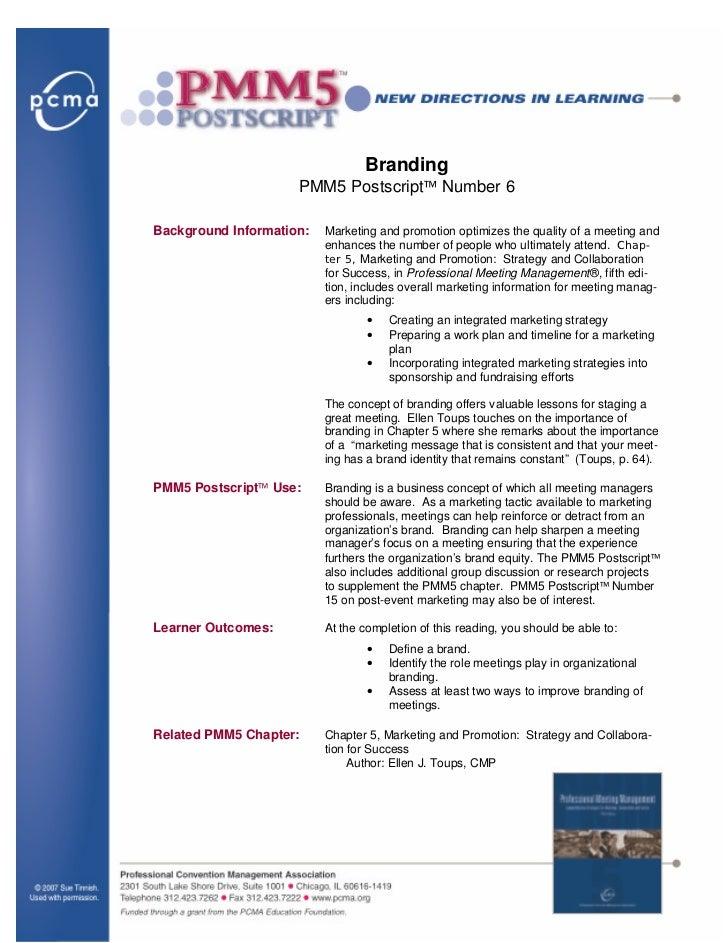 Branding                                   PMM5 Postscript™ Number 6              Background Information:   Marketing and ...