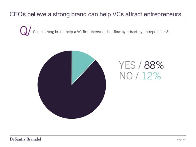 Page 14 CEOs believe a strong brand can help VCs attract entrepreneurs.