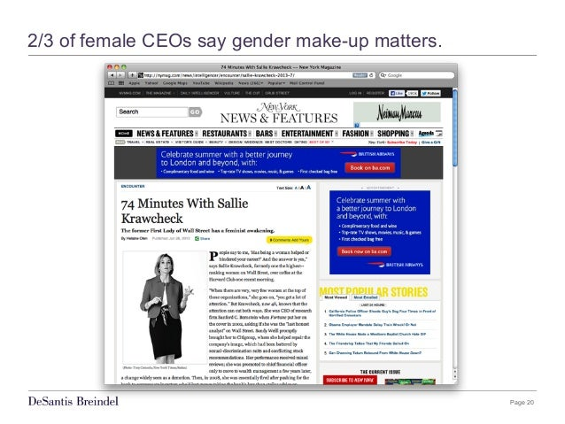 Page 20 2/3 of female CEOs say gender make-up matters.
