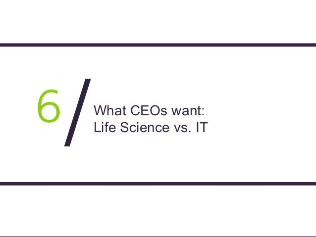Page 39 What CEOs want: Life Science vs. IT 6 /