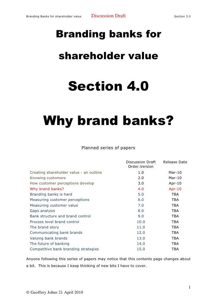 Branding Banks for shareholder value       Discussion Draft                           Section 3.0                        B...