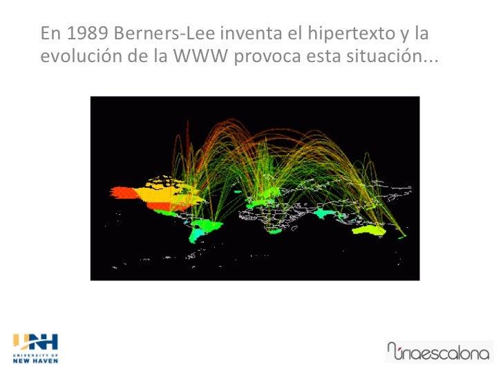 En 1989 Berners-Lee inventa el hipertexto y laevolución de la WWW provoca esta situación...