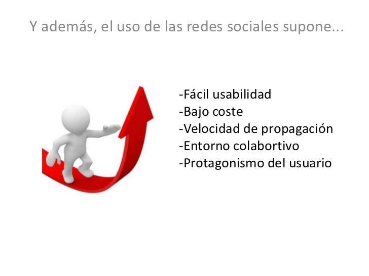 Y además, el uso de las redes sociales supone...                      -Fácil usabilidad                      -Bajo coste  ...