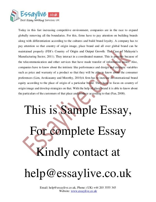 Branding Essay Sample