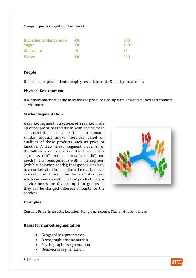 8   P a g e Mango squash simplified flow-sheet. Ingredients Mango pulp 900 900 Sugar 900 1100 Citric acid 18 15 Water 900 ...