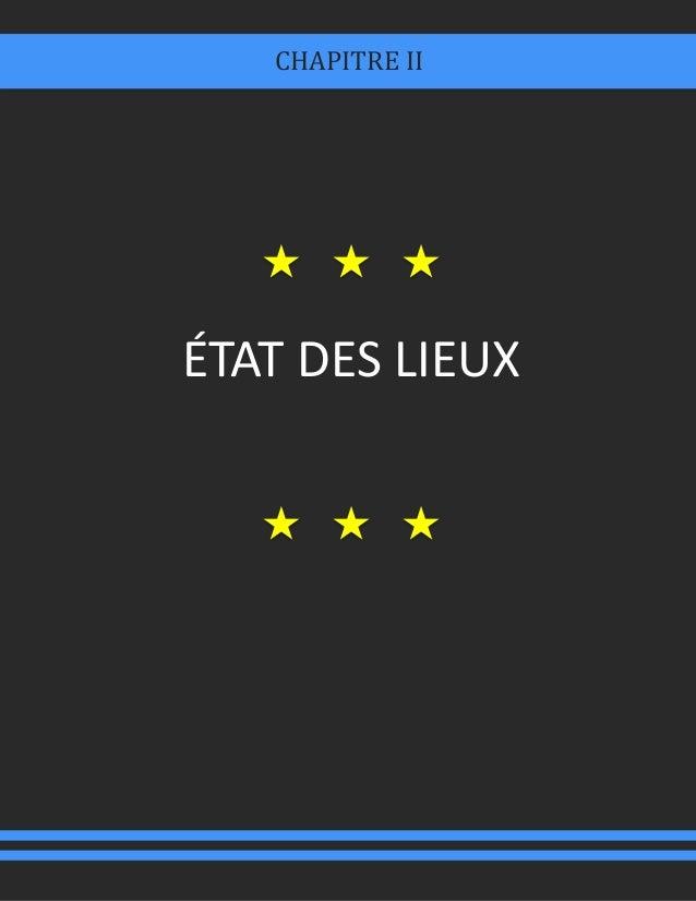 ÉTAT DES LIEUX CHAPITRE II