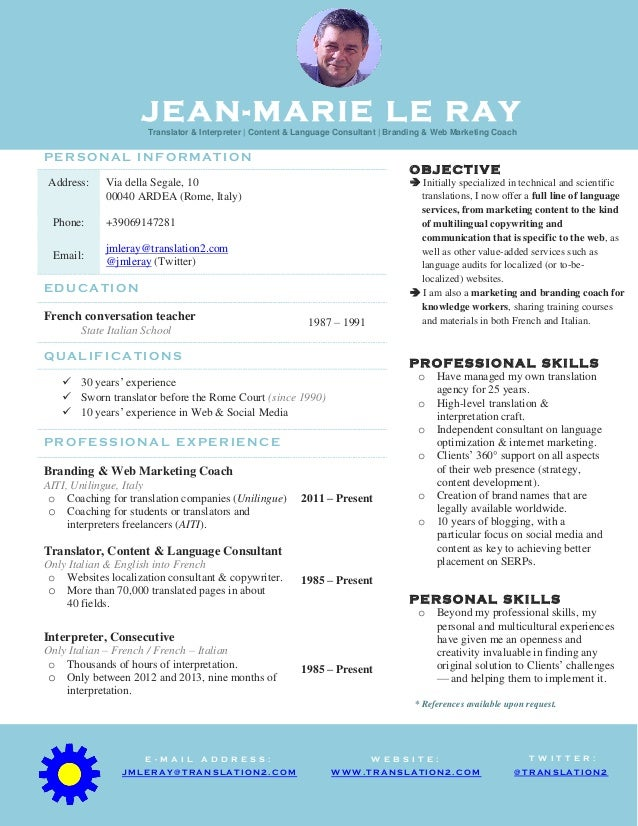 JEAN-MARIE LE RAYTranslator & Interpreter | Content & Language Consultant | Branding & Web Marketing Coach P E R S O N A L...