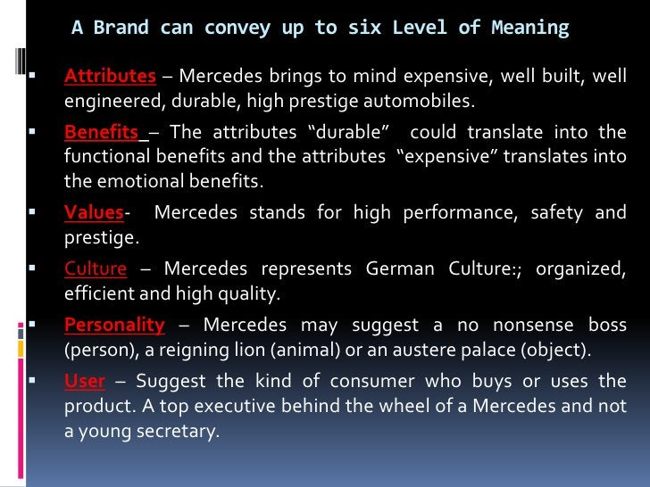 A Brand can convey up to six Level of Meaning   Attributes – Mercedes brings to mind expensive, well built, well    engin...