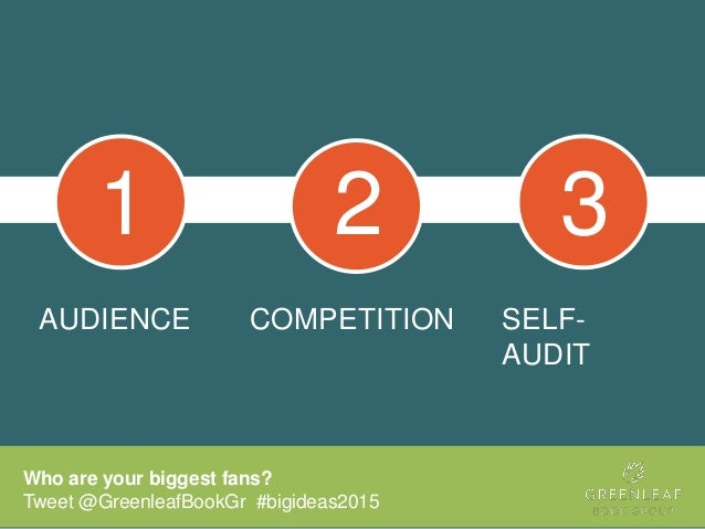 AUDIENCE COMPETITION Who are your biggest fans? Tweet @GreenleafBookGr #bigideas2015 SELF- AUDIT 1 2 3