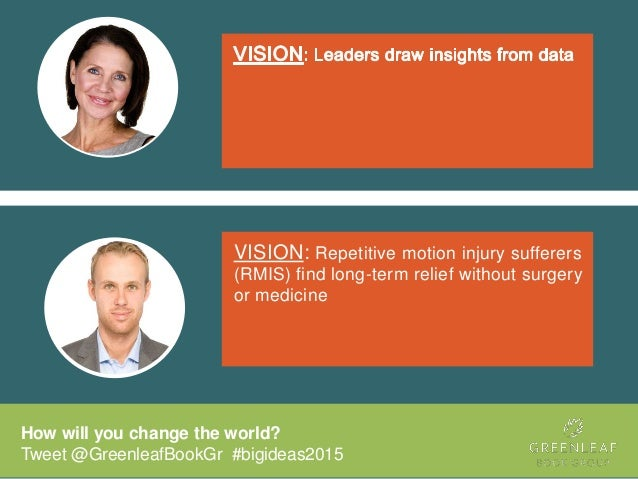 How will you change the world? Tweet @GreenleafBookGr #bigideas2015 VISION: Repetitive motion injury sufferers (RMIS) find...