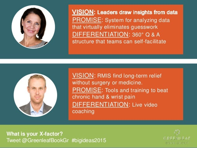 What is your X-factor? Tweet @GreenleafBookGr #bigideas2015 PROMISE: System for analyzing data that virtually eliminates g...