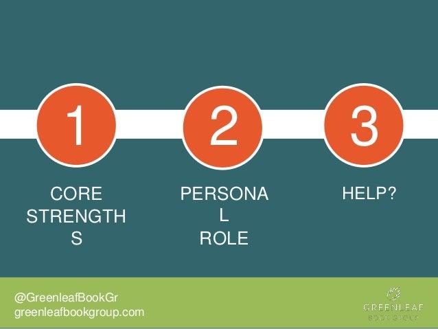 CORE STRENGTH S PERSONA L ROLE @GreenleafBookGr greenleafbookgroup.com HELP? 1 2 3