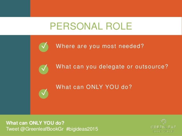 PERSONAL ROLE Where are you most needed? What can you delegate or outsource? What can ONLY YOU do? ✓ ✓ What can ONLY YOU d...
