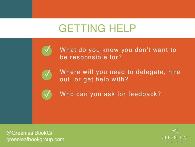GETTING HELP What do you know you don't want to be responsible for? Where will you need to delegate, hire out, or get help...