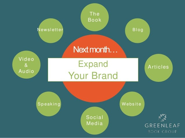 Expand Your Brand Nextmonth… Video & Audio The Book Social Media WebsiteSpeaking BlogNewsletter Articles