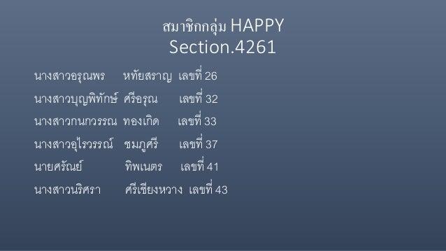 สมาชิกกลุ่ม HAPPY Section.4261 นางสาวอรุณพร หทัยสราญ เลขที่ 26 นางสาวบุญพิทักษ์ ศรีอรุณ เลขที่ 32 นางสาวกนกวรรณ ทองเกิด เล...