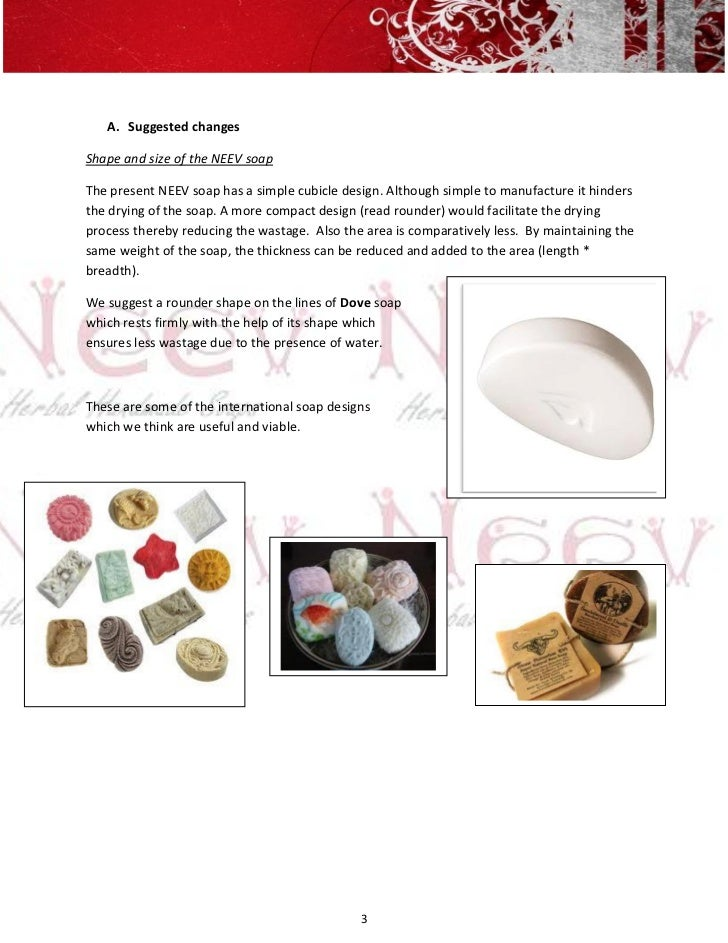 A. Suggested changesShape and size of the NEEV soapThe present NEEV soap has a simple cubicle design. Although simple to m...