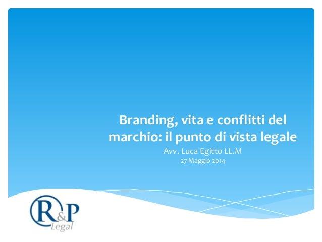 Branding,  vita  e  conflitti  del   marchio:  il  punto  di  vista  legale Avv.  Luca  Egitto  ...