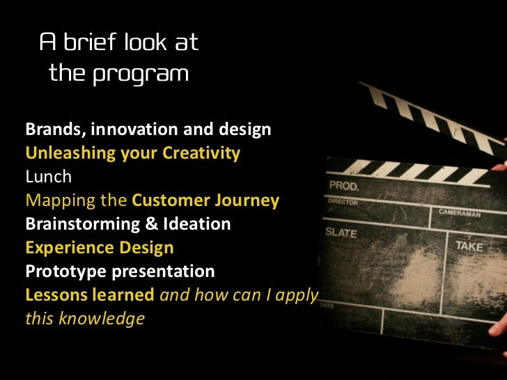 A brief look at   the program  Brands, innovation and design Unleashing your Creativity Lunch Mapping the Customer Journey...