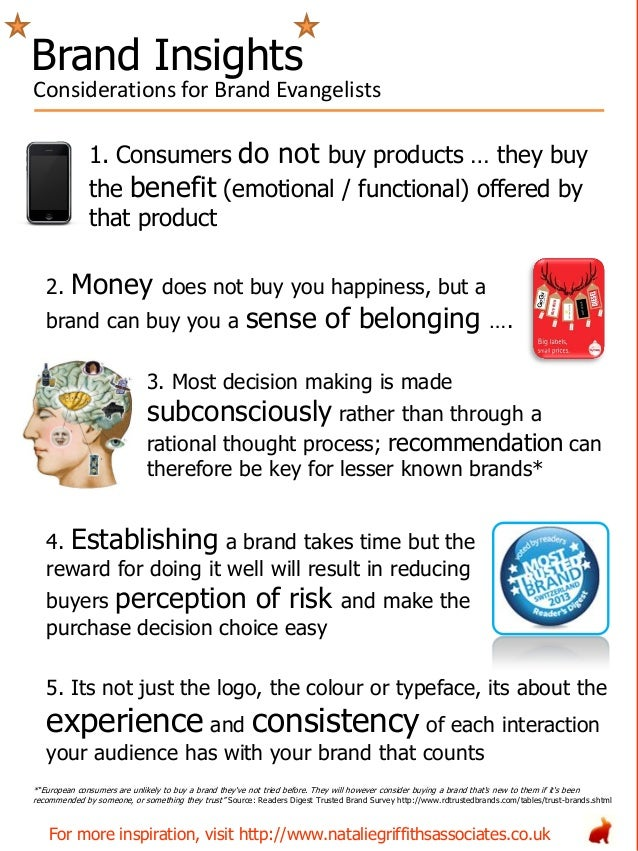 1. Consumers do not buy products … they buy the benefit (emotional / functional) offered by that product 2. Money does not...