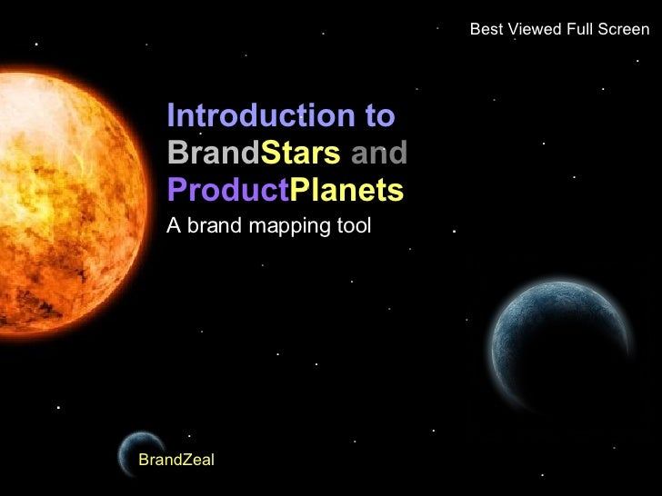 Introduction to   Brand Stars   and  Product Planets A brand mapping tool BrandZeal BrandZeal . . . . . . . . . . . . . . ...
