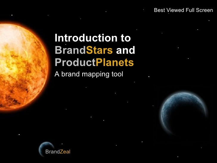 Introduction to   Brand Stars  and   Product Planets A brand mapping tool BrandZeal Brand Zeal . . . . . . . . . . . . . ....