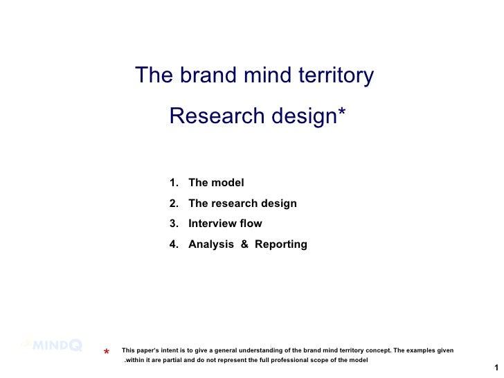 The brand mind territory  Research design* <ul><li>The model </li></ul><ul><li>The research design  </li></ul><ul><li>Inte...