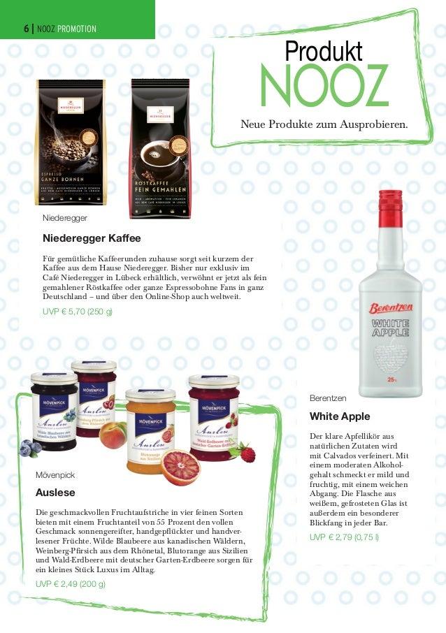 6 | NOOZ PROMOTION  Produkt  NOOZ  Neue Produkte zum Ausprobieren.  Niederegger  Niederegger Kaffee Für gemütliche Kaffeer...