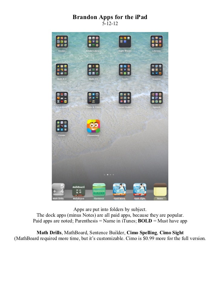 Brandon Apps for the iPad                                           5-12-12                             Apps are put into ...