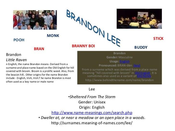 BRANDON LEE<br />MONK<br />STICK<br />POOH<br />BRANNY BOI<br />BUDDY<br />BRAN<br />Brandon<br />Gender: Masculine <br />...