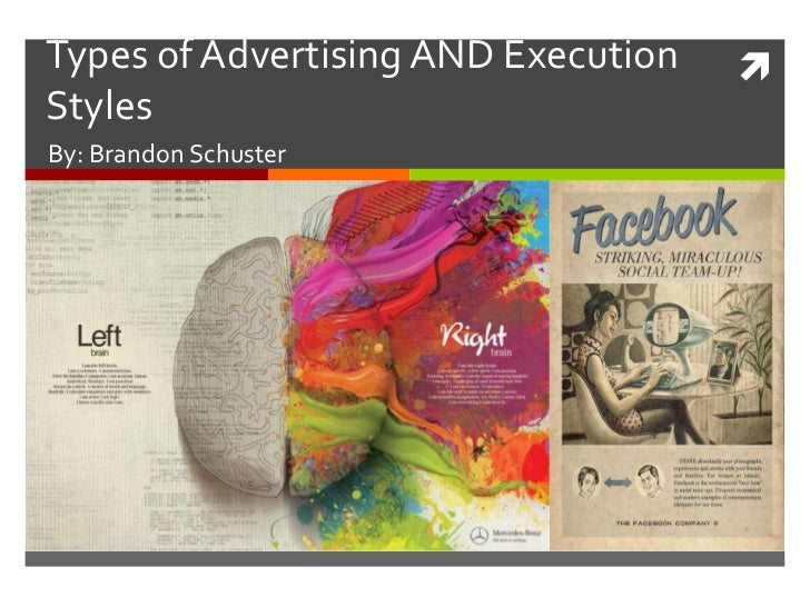 Types of Advertising AND Execution   StylesBy: Brandon Schuster