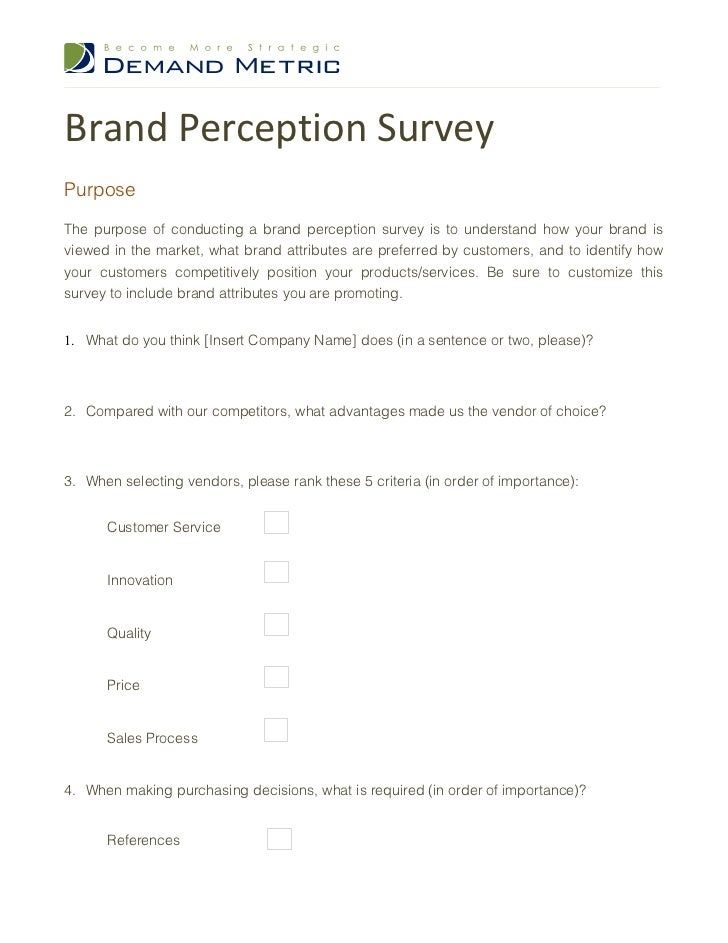 brand awareness survey template - brand perception survey