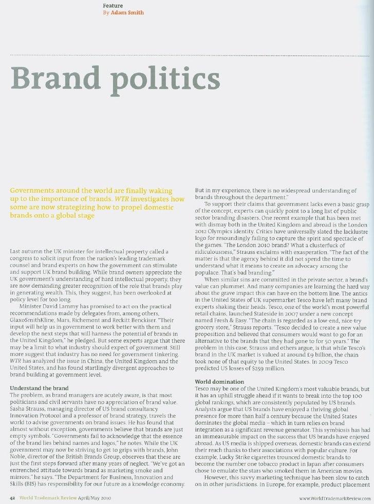 Brand Politics World Trademark Review April 2010