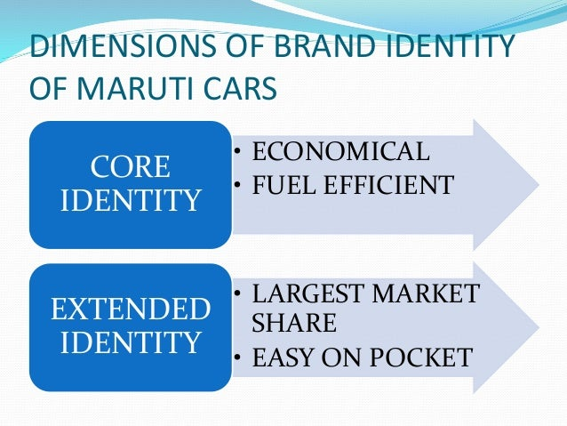 DIMENSIONS OF BRAND IDENTITY OF MARUTI CARS • ECONOMICAL • FUEL EFFICIENT CORE IDENTITY • LARGEST MARKET SHARE • EASY ON P...