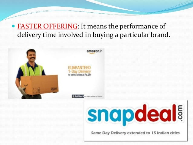  FASTER OFFERING: It means the performance of delivery time involved in buying a particular brand.