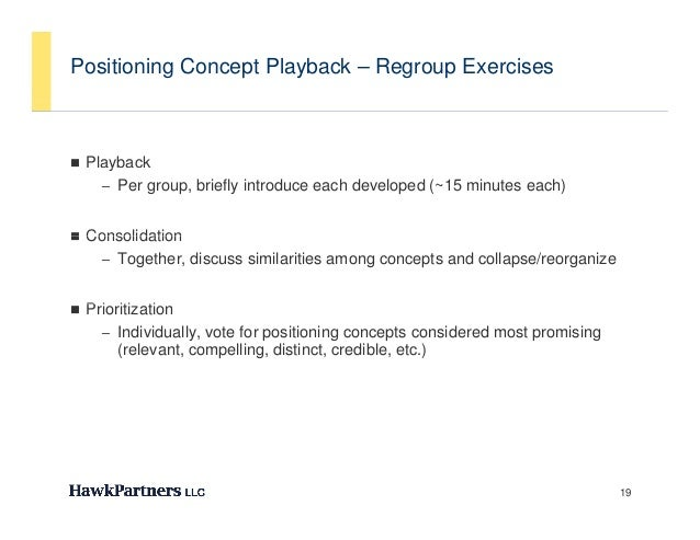 Positioning Concept Playback – Regroup Exercises Playback     y    – Per group, briefly introduce each developed (~15 min...
