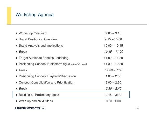 Workshop Agenda Workshop Overview                                      9:00 – 9:15 Brand Positioning Overview           ...