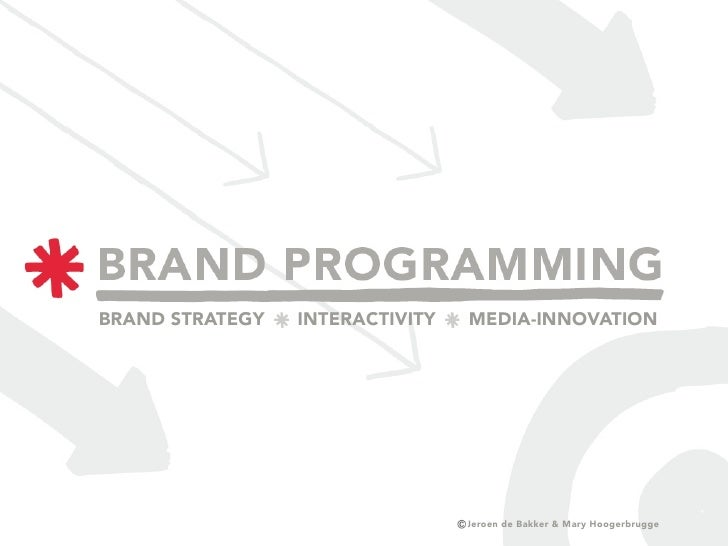 BRAND STRATEGY   INTERACTIVITY   MEDIA-INNOVATION                                      Jeroen de Bakker & Mary Hoogerbrugge
