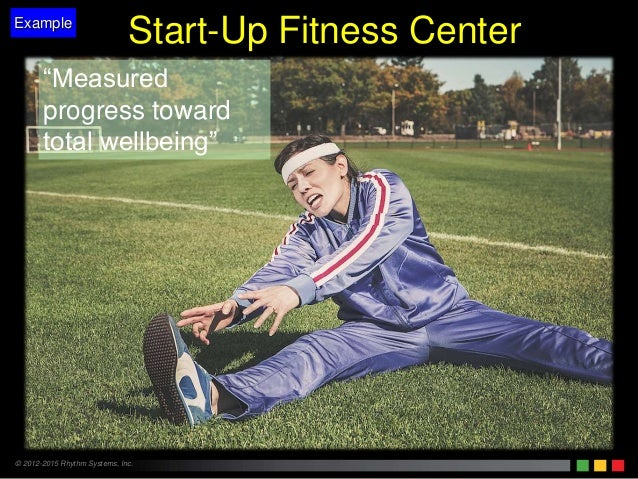 """© 2012-2015 Rhythm Systems, Inc. """"Measured progress toward total wellbeing"""" Example Start-Up Fitness Center"""