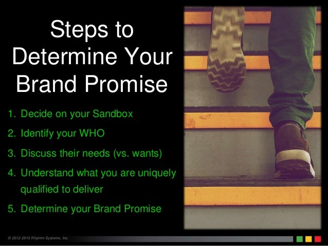 © 2012-2015 Rhythm Systems, Inc. 1. Decide on your Sandbox 2. Identify your WHO 3. Discuss their needs (vs. wants) 4. Unde...