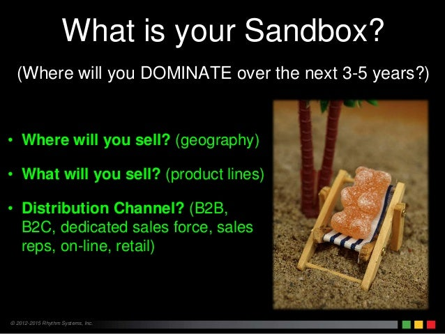 © 2012-2015 Rhythm Systems, Inc. What is your Sandbox? (Where will you DOMINATE over the next 3-5 years?) • Where will you...