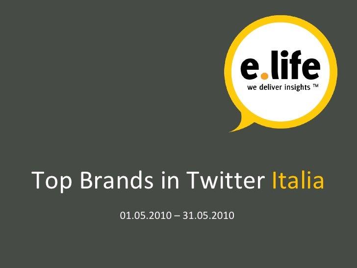 Top Brands in Twitter  Italia 01.05.2010 – 31.05.2010