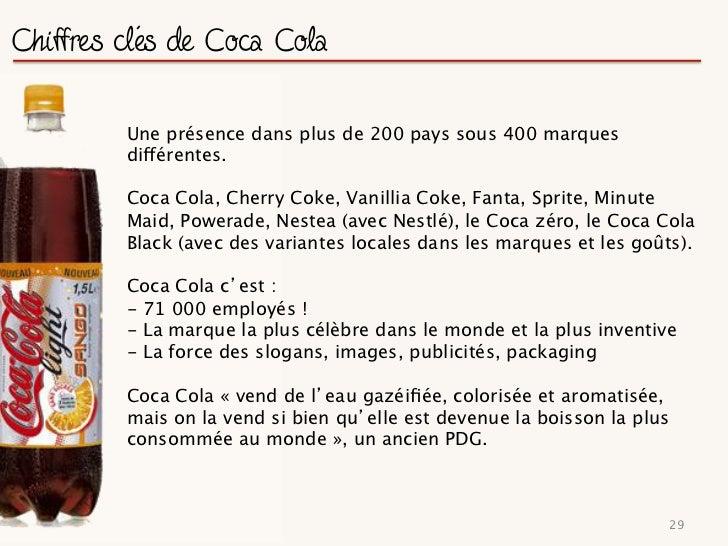 Coca Cola et ses concurrents                  Concurrents directs : Pepsi Cola / Dr Pepper et Virgin Cola                 ...