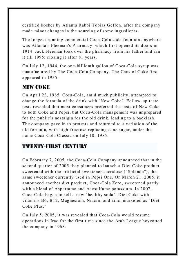 Coca     Cola in India RAM Team  GMBA  MA N               MA N     Anja             REBRANDING CASE   Failure NEW COKE
