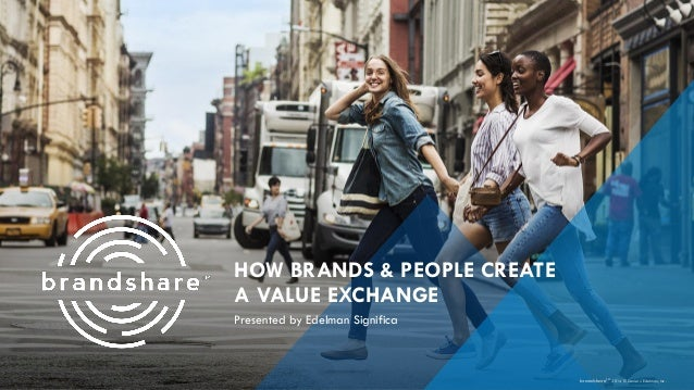 HOW BRANDS & PEOPLE CREATEA VALUE EXCHANGE  Presented by Edelman Significa  brandshareTM2014© Daniel J. Edelman, Inc.