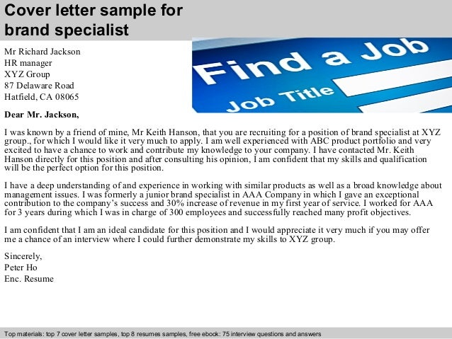 Brand Specialist Cover Letter .