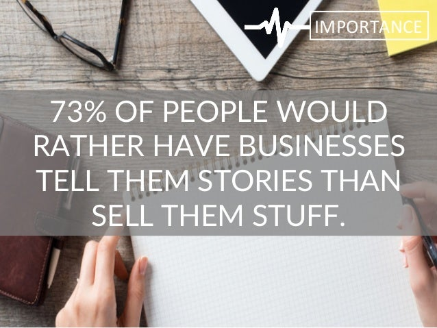 73% OF PEOPLE WOULD  RATHER HAVE BUSINESSES  TELL THEM STORIES THAN  SELL THEM STUFF.  IMPORTANCE