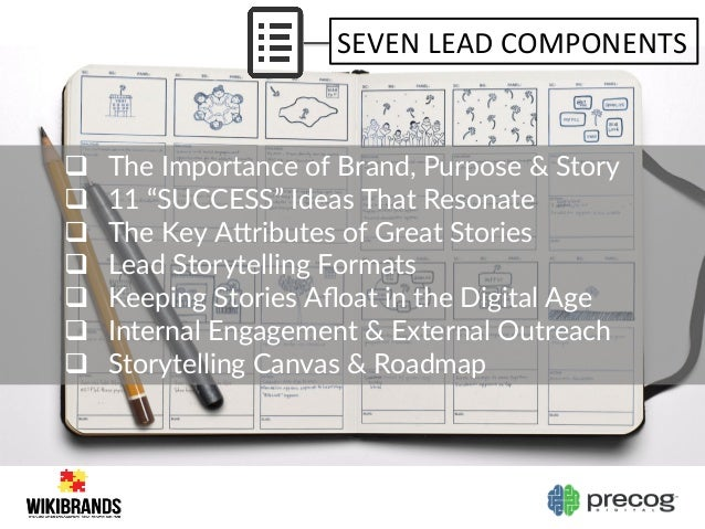 """SEVEN  LEAD  COMPONENTS   q The Importance of Brand, Purpose & Story  q 11 """"SUCCESS"""" Ideas That Reson..."""