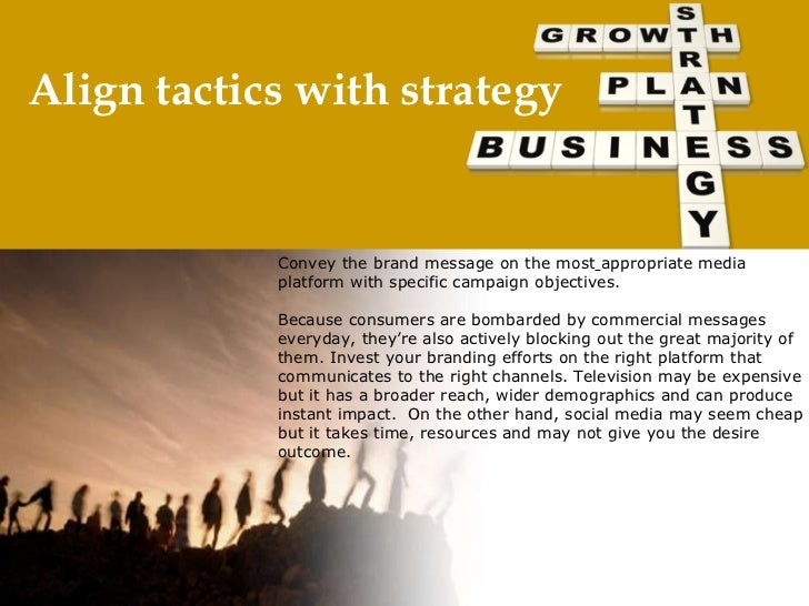 Align tactics with strategy Convey the brand message on the most  appropriate media platform with specific campaign objec...