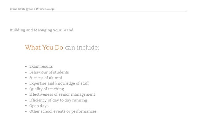 Brand Strategy for a Private College • Exam results • Behaviour of students • Success of alumni • Expertise and knowle...